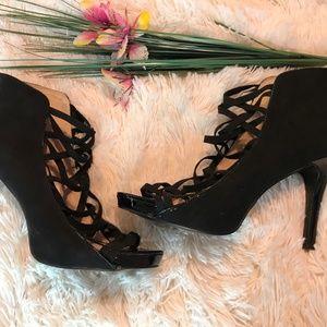 Nine West Black Suede High Heel Open Toe Sandals
